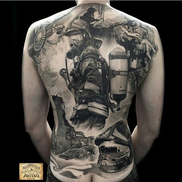 Firefighter Montage Tattoo (back) | Shared by LION