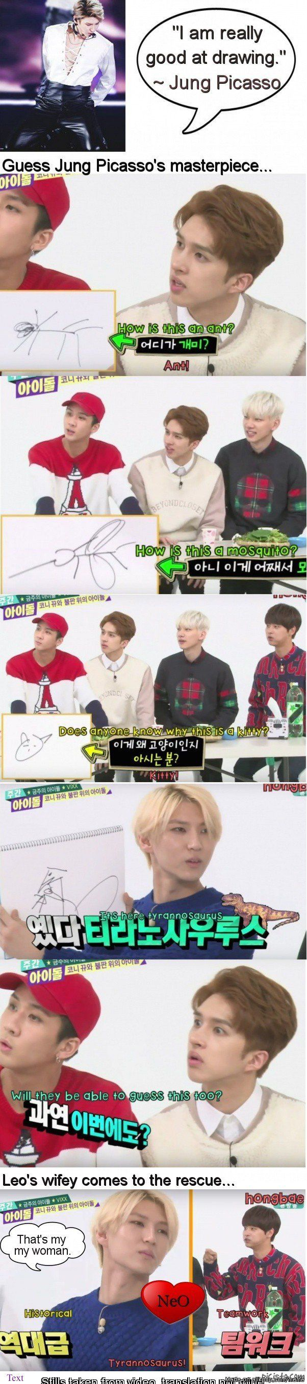 Hahahaha his drawings. It was really a miracle that the members were able to guess them.