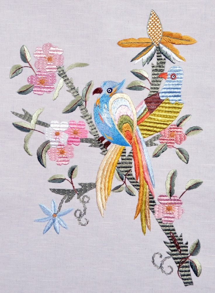 Birds Crusaders of Luck - Silk Embroidery