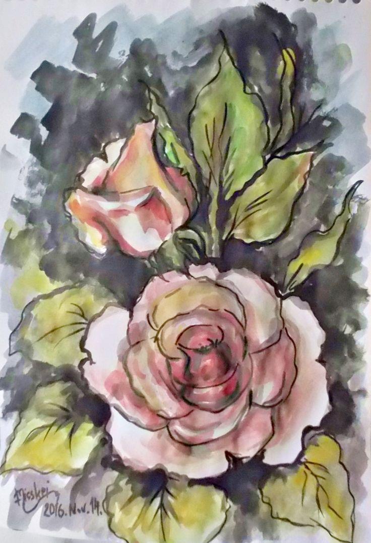 Rózsás- -akvarell.- -24x17 cm