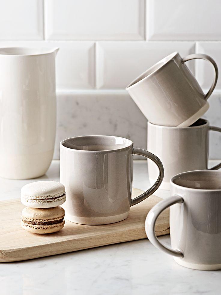 Four Dip Glaze Mugs - Grey  |  Cox & Cox