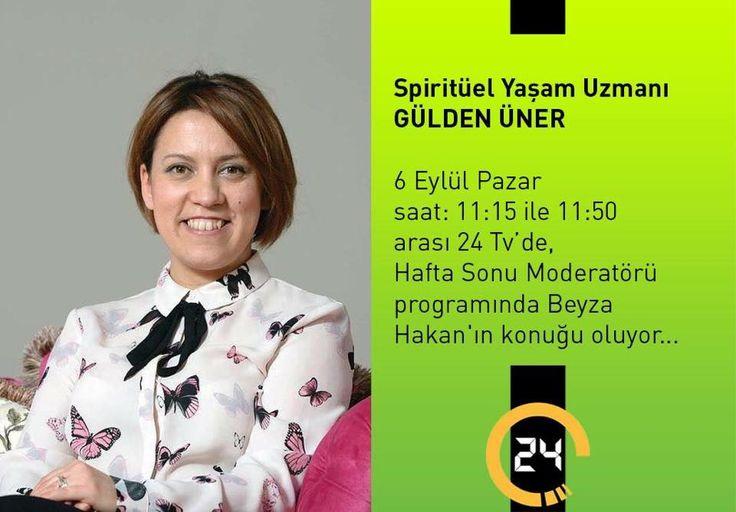 """Dostlarım bugün saat 11:15'de Kanal 24 de """"Hafta Sonu Moderatörü"""" programında Beyza Hakan'ın konuğu olacağım. Sizlerle """"içinizdeki çocuğu nasıl büyüteceğinizden; dünyaya gelen çocuğun sizi büyütmesine nasıl izin vermeniz gerektiğinden, özünüzdeki gerçek Ben'le nasıl bulaşabileceğinizden, yaşamın kaynağı olan kadını nasıl fabrika ayarlarına döndüreceğinizden"""" ve daha bir çok konuyu konuşacağız. Sizi de ekran başına bekliyorum.Sorularınızı lütfen benimle paylaşın.  Aşk ile... Ben'de kal…"""