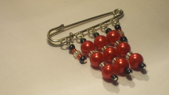 Kilt Pin Red Glass Pearl Bead Brooch by Michelleshandcrafted, £8.00