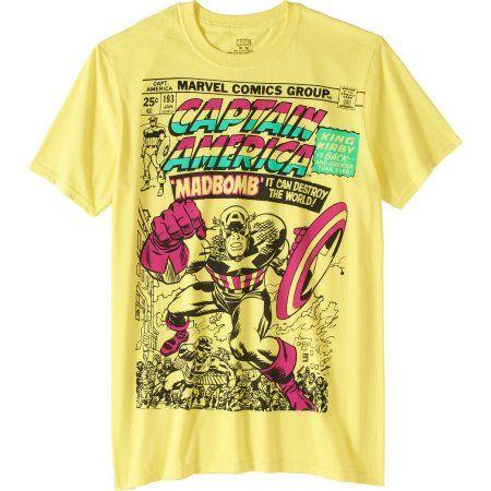 Marvel Men's Captain America Pastel Graphic Tee, Size: Medium, Yellow