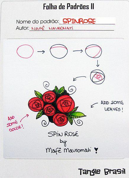 Passo a passo para desenhar SPINROSE, meu novo padrão para Zentangle. How to draw SPINROSE, my nem tangle pattern. Blogged here: tanglebrasil.blogspot.com