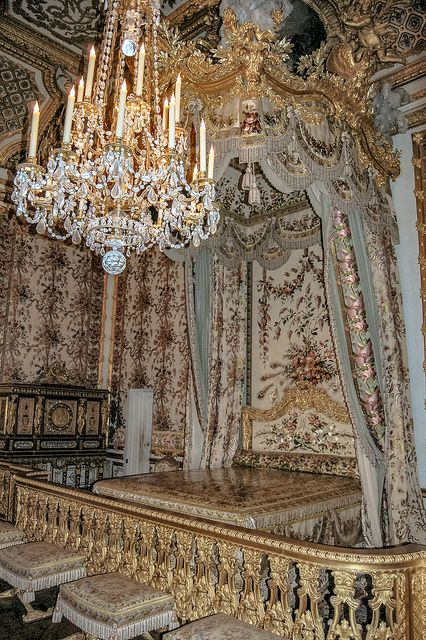Marie-Antoinette's bedroom, Versailles Palace Royal Bedroom, Paris France - her large jewel armoire can be seen in the back along the wall on the left