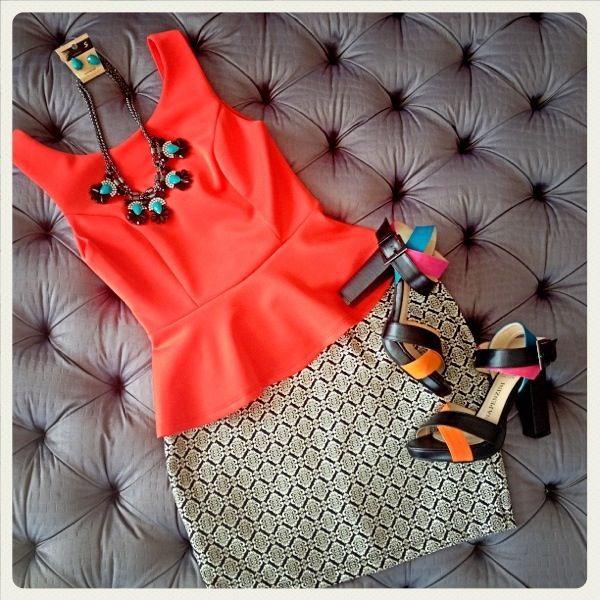 Peplum top Orange + Print Skirt = casual chic