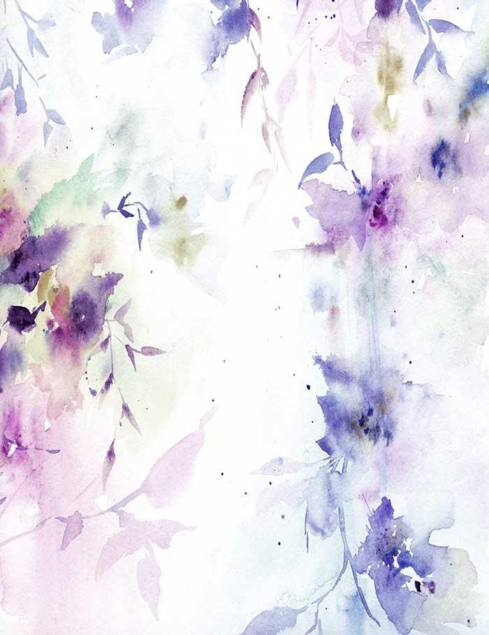 Watercolor Painted Purple Flower Life Photography Backdrop J 0344