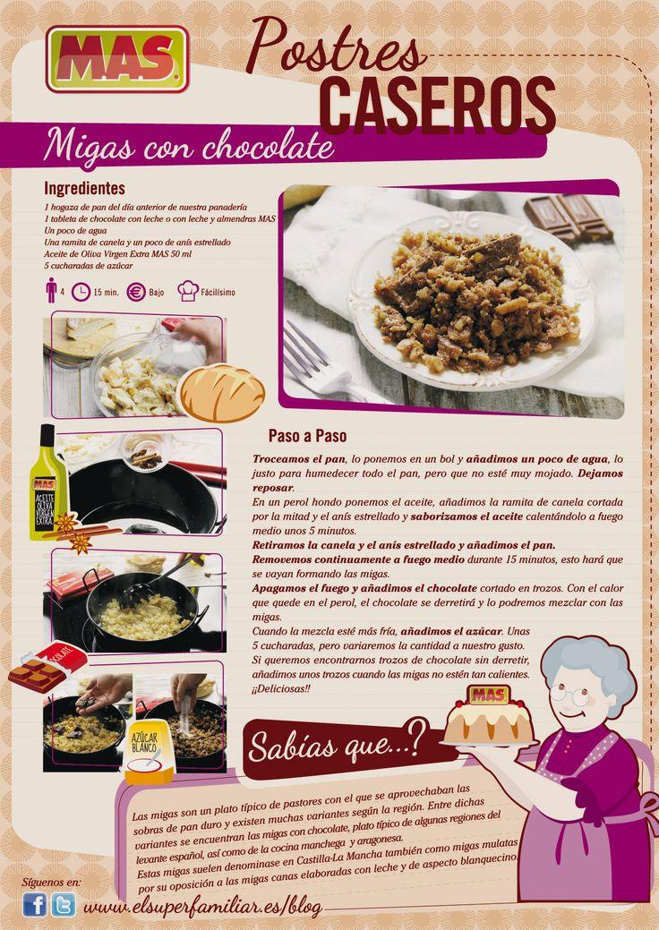 """¿Os gustaba el pan con chocolate? Entonces esta receta os gustará ;) """"migas de #chocolate""""  #recetas #infografias #inforecetas #reposteria"""