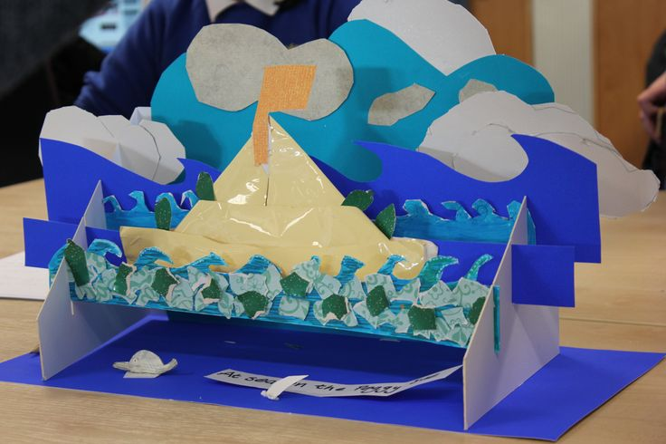 Miniature stage sets for 'Kensuke's Kingdom' workshop (90mins) with yr 5 pupils. helping children to connect with stories and books  through making.