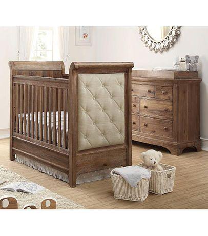 Bertini Pembrooke Upholstered 3-in-1 Convertible Crib with Toddler Rail - Natural Rustic