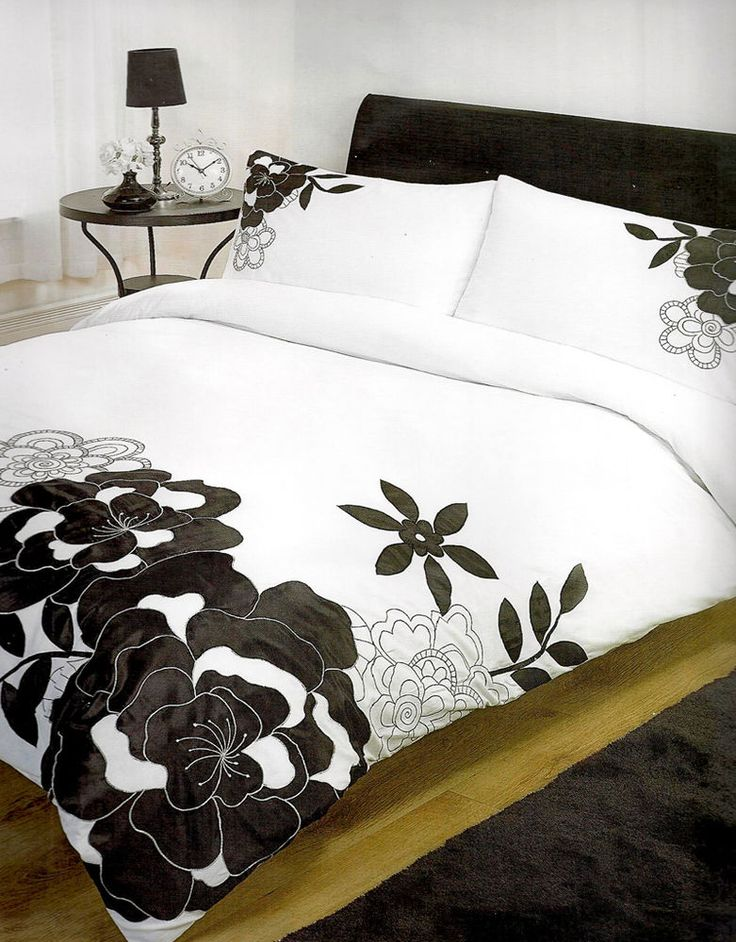 Citadel Black Double Bed Embroidered & Appliqué Bold Floral White Bedding Set in Home, Furniture & DIY, Bedding, Bed Linens & Sets | eBay #bed #bedding #duvet #black #white #contemporary #floral #flowers #bold #girly #chic #stylish #thatsdarling #bedroom #style #decor #modern #cosy #relax #relaxing #doubleduvet #home #linen #homedecor #homestyle #interior #design #HarvardMills #LordOfTheLinens