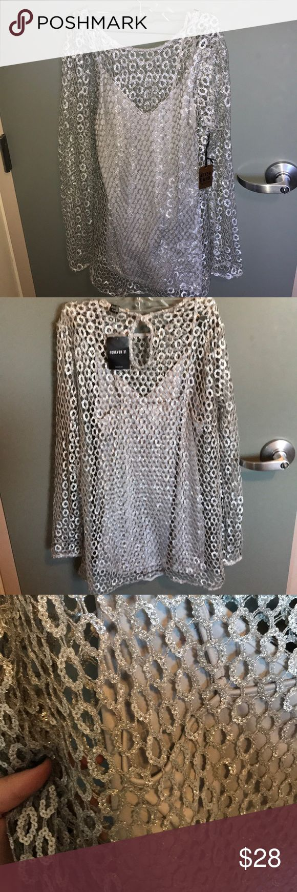 Shift dress! Silver & sparkly! Size L & brand new! Silver sparkly dress! Size Large and brand new! Has a slip under it. Literally SO cute in person. Feel free to make an offer!!! :) Forever 21 Dresses Mini