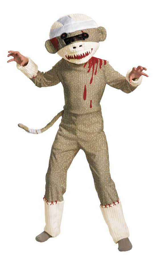Boys Zombie Sock Monkey Halloween Costume, Size: Medium
