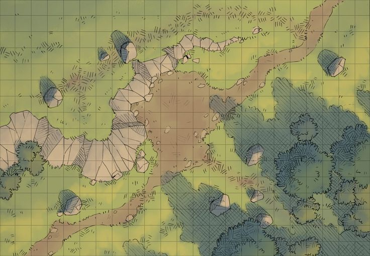 The Halfway Camp, a battle map for D&D / Dungeons & Dragons, Pathfinder, Warhammer and other table top RPGs. Tags: camp, cliff, forest, plains, road, wilderness