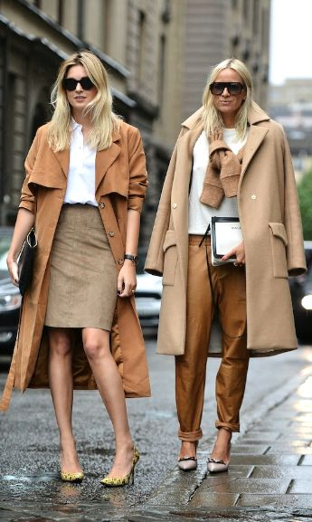 The friends that dress together... Tan fashion on the street.