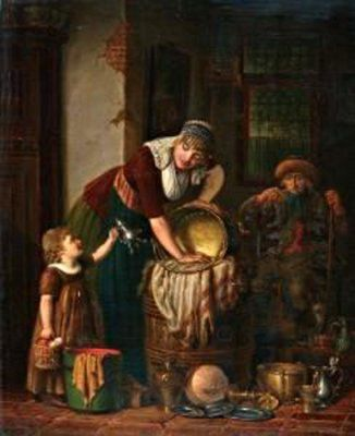Horstok, Johannes Petrus van. Helping Mother Polish Copper And Tin