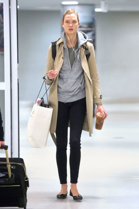 How to dress for the airport, demonstrated by your favorite celebrities, including Karlie Kloss.