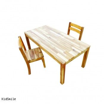 $300 acacia wood. 120cm x 60cm, 50cm high. Rectangular Table And 2 Stacking Chairs, Wooden Toys Australia, Kidsmile.com.au