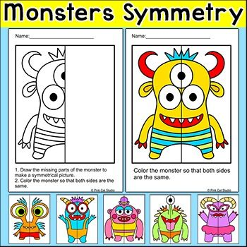 Symmetry Math Activity - Practice symmetry by drawing and coloring these silly monsters! Perfect for math centers, early finishers and homework. This fun activity includes 6 monsters, each with three levels of difficulty. The difficulty level 1 worksheet has a completed drawing so the student can focus on coloring the monster symmetrically.