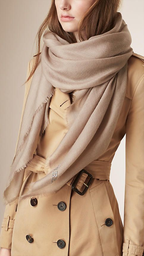 Burberry Mink Grey Embroidered Lightweight Cashmere Scarf - Lightweight cashmere scarf with tonal embroidered detail. Fringing at the edges. Discover the scarves collection at Burberry.com
