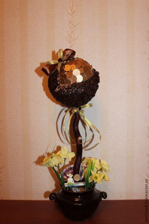 Купить ДЕНЕЖНОЕ ДЕРЕВО - коричневый, топиарий из кофе, золото, шар, ароматный, высокое, кашпо керамическое