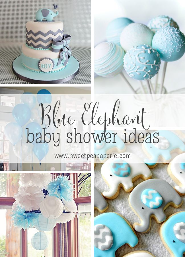 Blue And Gray Elephant Baby Shower Ideas