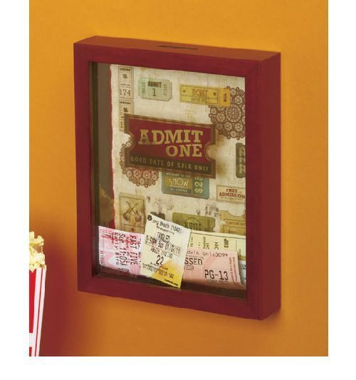 Admit One shadowbox frame for ticket stubs/wristbands.