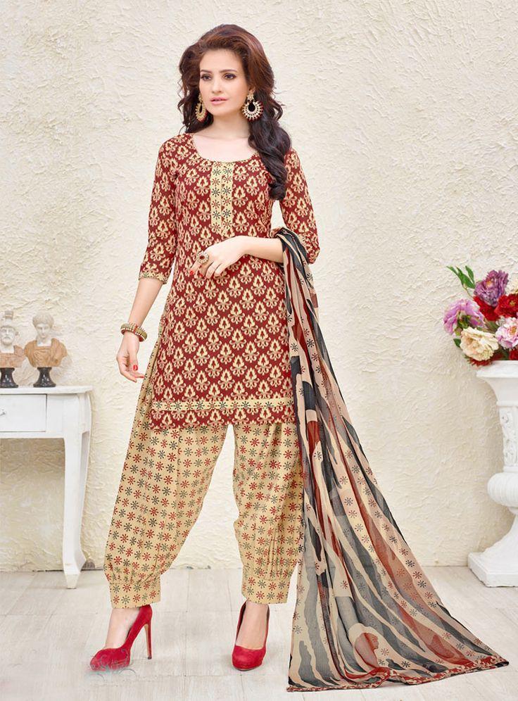 Maroon Cotton Patiala Suit 87535