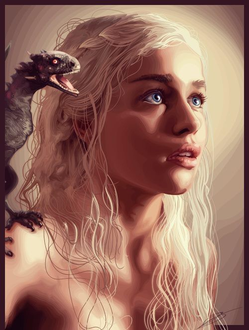 AWESOME! Amazing artwork of the Mother of Dragon's!