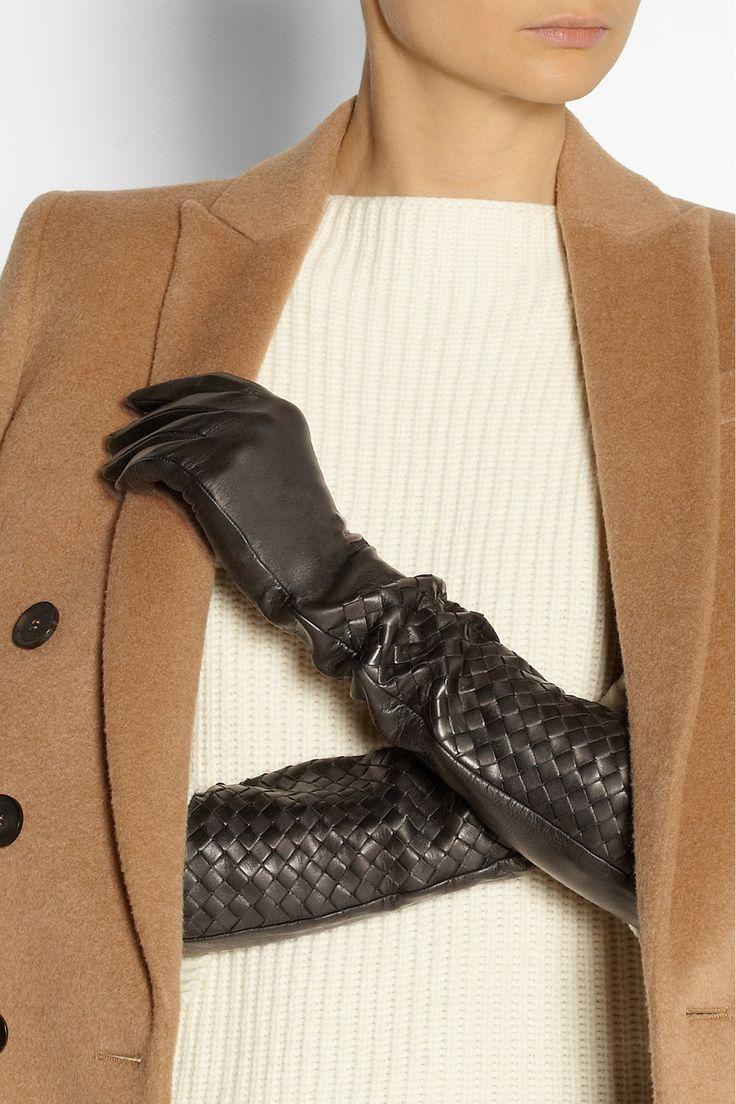 Bottega Veneta|Intrecciato long leather gloves|NET-A-PORTER.COM
