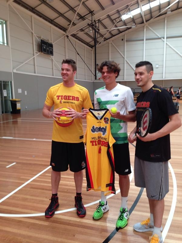 NB's Milos Raonic hangs out with some of the guys from Melbourne Tigers during his stay in Melbourne or Aus Open.