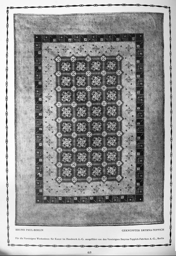 bruno paul dessin vereinigte smyrna teppich fabriken a g berlin fabrication tapis vers. Black Bedroom Furniture Sets. Home Design Ideas