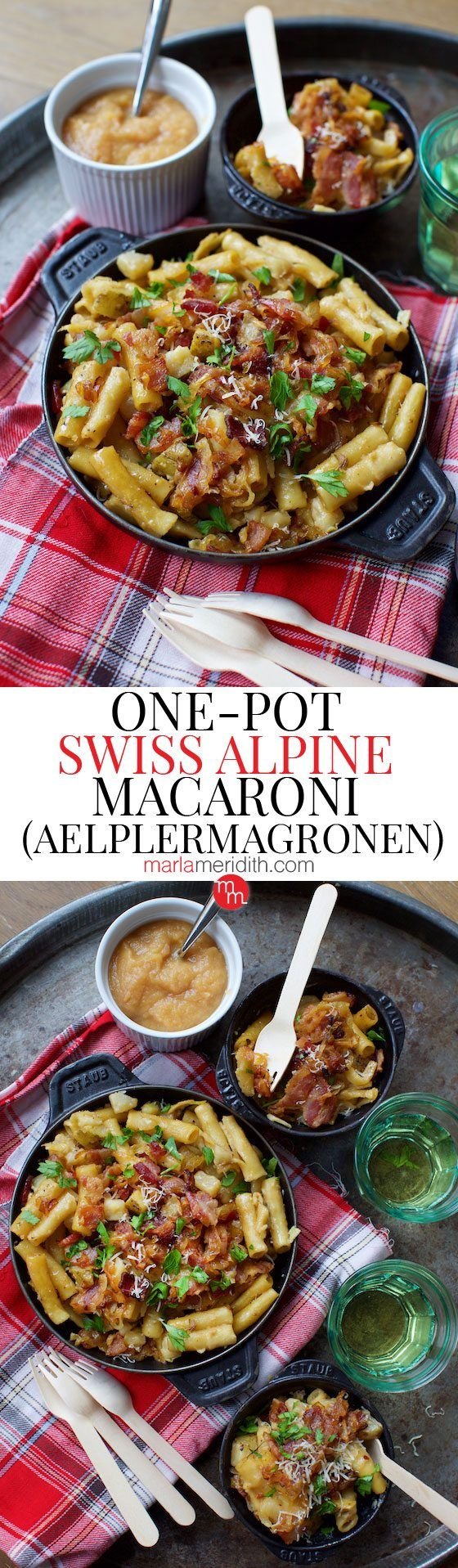 One-Pot Swiss Alpine Macaroni (Aelplermagronen) recipe. Mountain comfort food. Great for apres ski! MarlaMeridith.com ( @marlameridith )