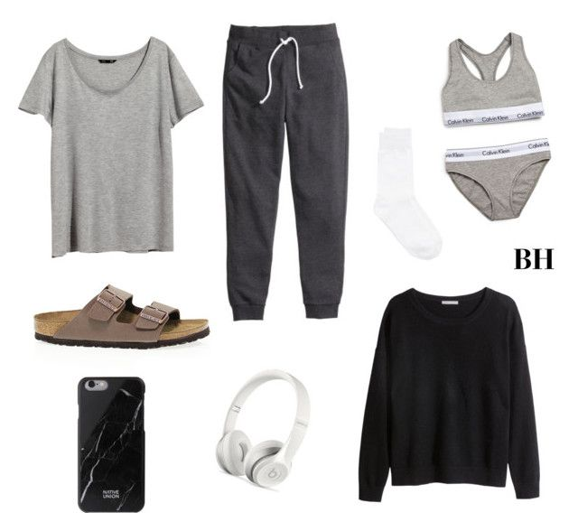 """What to change into on a long flight..."" by brionyhblevin on Polyvore featuring H&M, Y's by Yohji Yamamoto, Beats by Dr. Dre, Birkenstock, Calvin Klein Underwear, women's clothing, women, female, woman and misses"