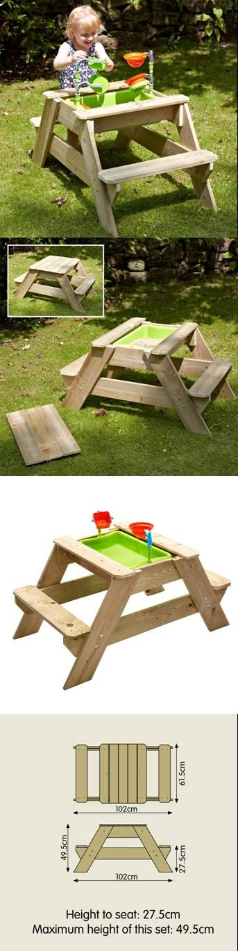 The TP Toys Early Fun Picnic Table Sandpit features a robust bowl in the center which is easily revealed by removing the central wooden piece. Along with this set are suspended instruments to enhance your child's imagination and creative side.