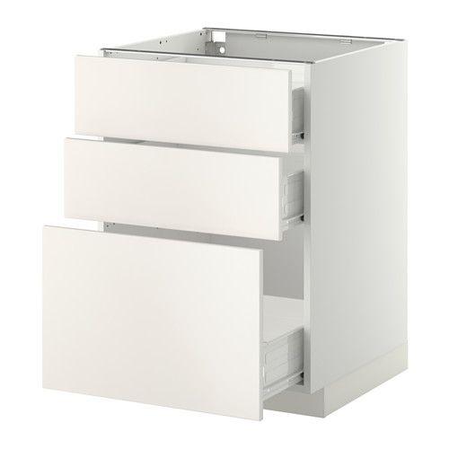 METOD / FÖRVARA Uschr 3 Fr/3 haho Sch - weiß, Veddinge weiß, 60x60 cm - IKEA
