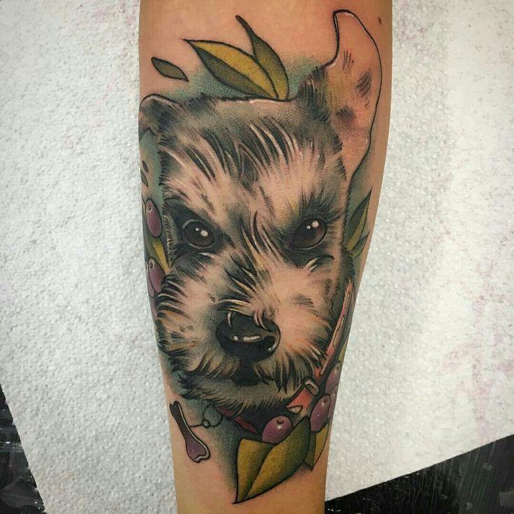 Tattoo done by: Enrik Gispert #dog #dogtattoo #perro