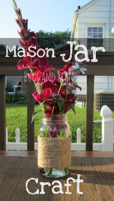 Easy Twine Mason Jar Craft  #craft #DIY