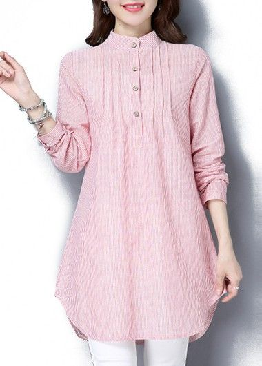 Stripe Print Stand Collar Pink Curved Tunic Blouse on sale only US$25.58 now, buy cheap Stripe Print Stand Collar Pink Curved Tunic Blouse at liligal.com