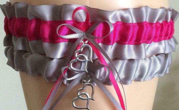 Silver and Fuchsia Pink Wedding Garter Set, Bridal Garter Sets