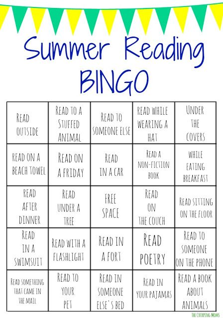 Summer Reading Bingo Challenge for Kids.  Get Your Kid Reading this Summer with these Free Printable Bingo Boards!