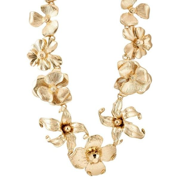 Kenneth Jay Lane Women's Floral Necklace (2 290 ZAR) ❤ liked on Polyvore featuring jewelry, necklaces, gold, chain jewelry, floral necklace, kenneth jay lane necklace, flower chain necklace and strand necklace