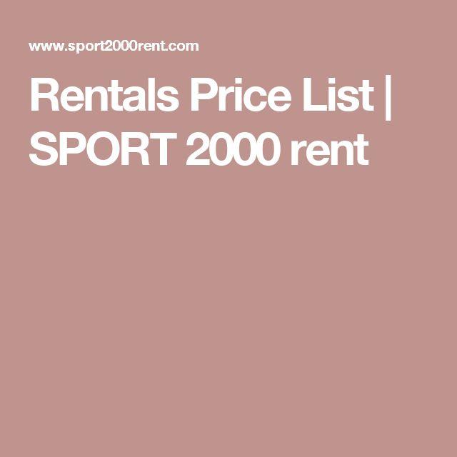 Rentals Price List | SPORT 2000 rent