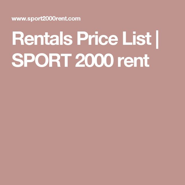 Rentals Price List | SPORT 2000 rent