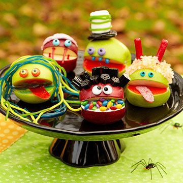 Use apples and different kinds of colorful candy to make kooky Apple Monsters! Great idea for a Halloween party game!