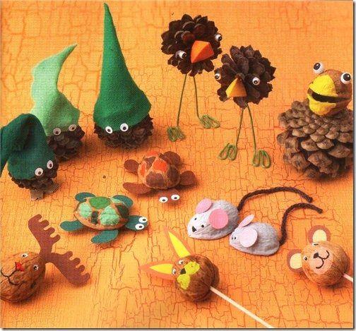 Manualidades para niños: animales hechos con nueces | Jugar y colorear
