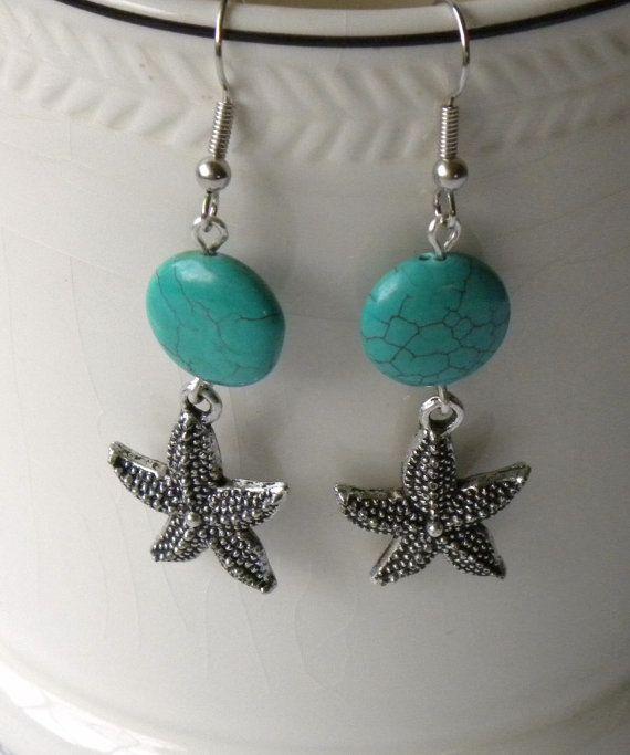 Seaside Handmade Beaded Earrings Turquoise by bdzzledbeadedjewelry, $17.00