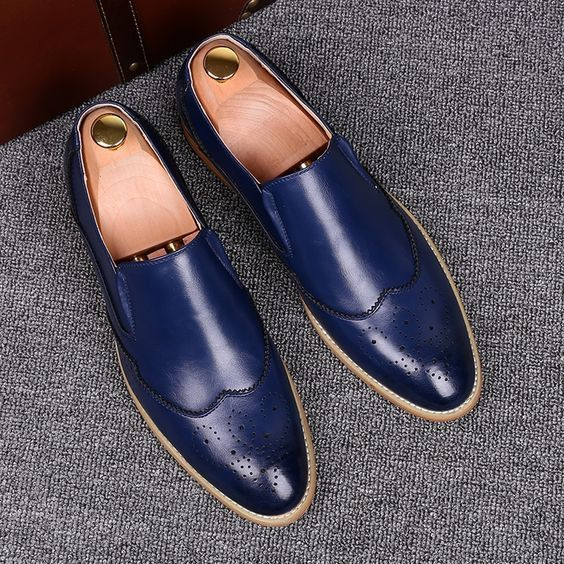 9428bbd0ba4bf New Handmade Men Blue Leather Moccasins, Men Blue Loafer Slip Ons ...
