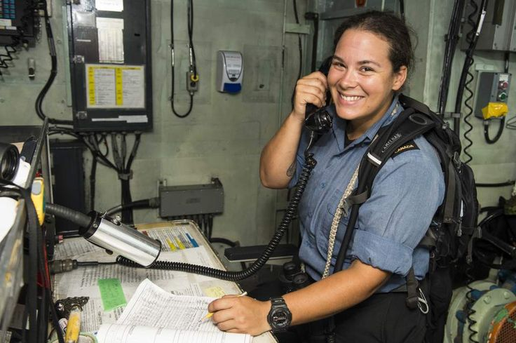 Smooth sailing for women in the Royal Canadian Navy, 28 February 2014. Leading Seaman Rebecca Charlesworth, a Boatswain, prepares to make an announcement to the ship's company using the Shincomm system on the bridge of Her Majesty's Canadian Ship REGINA during Operation ARTEMIS in the Indian Ocean. (Photo by: Cpl Michael Bastien, MARPAC Imaging Services)